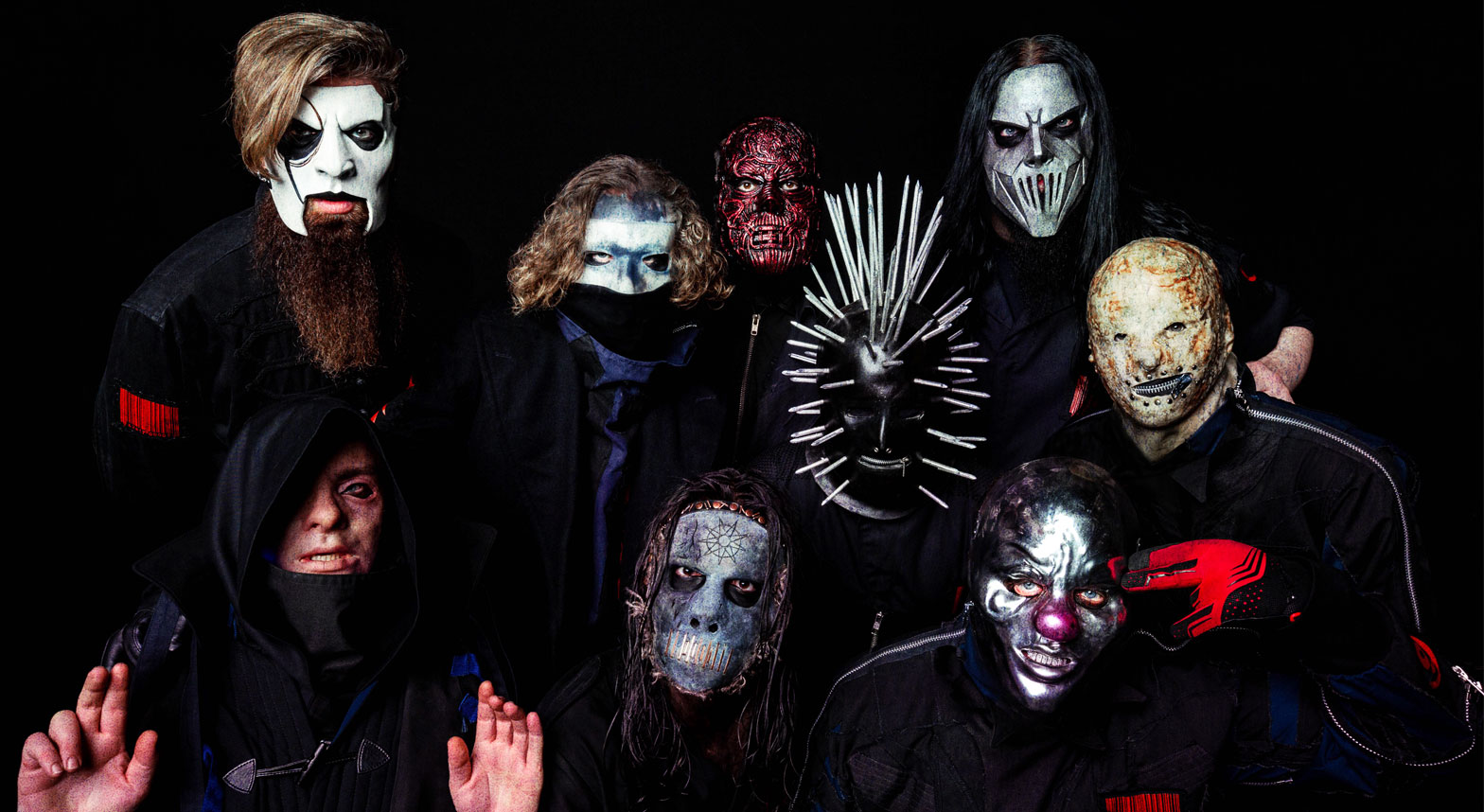 Slipknot band with masks all in black