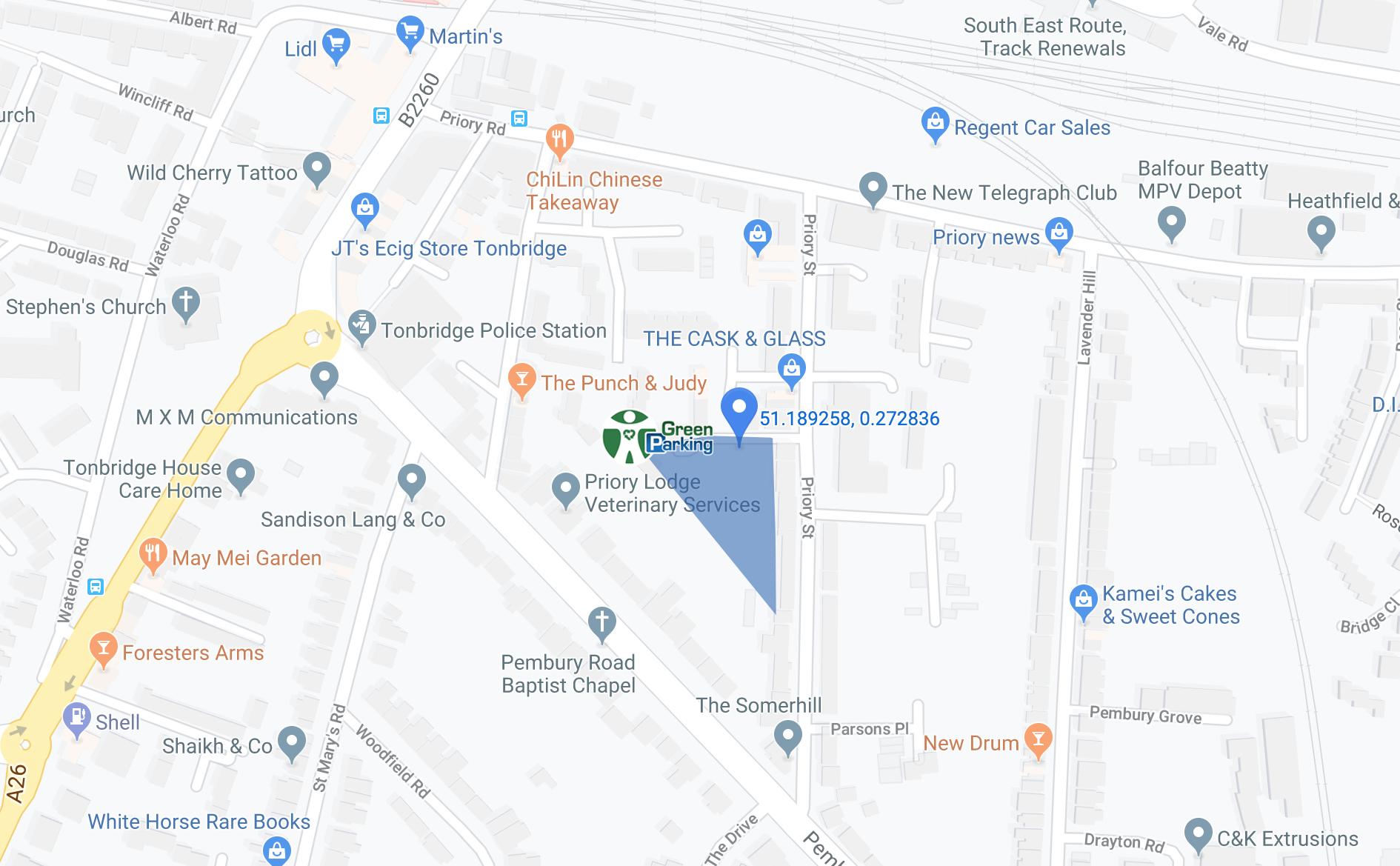 green parking temporary map of tonbridge